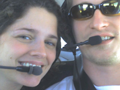 Alexi and Nic Gibson onboard a CAIR Flight.